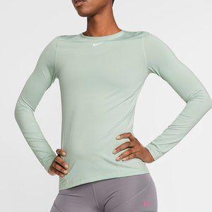 Nike Pro Long Sleeve Mesh Top Crew Neck Mint Green